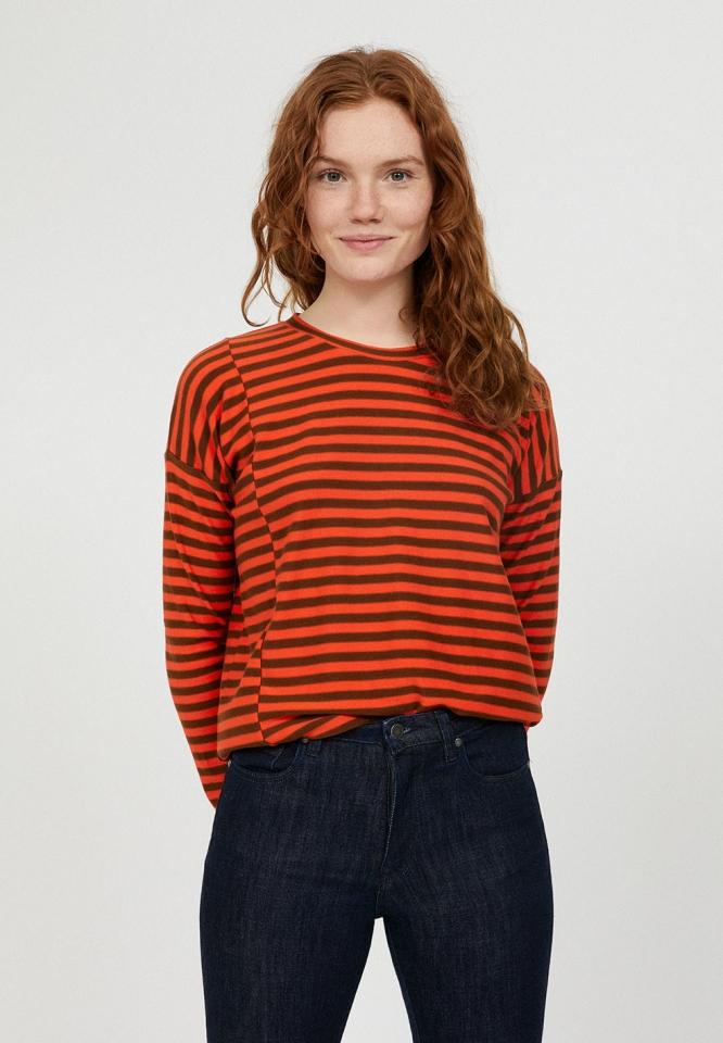 Palinaa Knitted Stripe glossy orange cacao