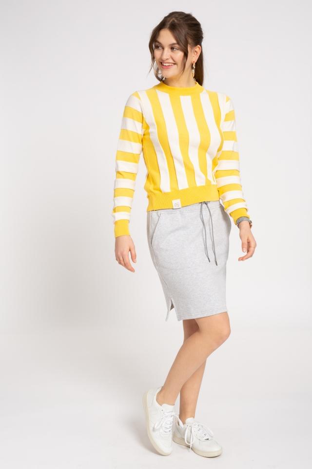 Frauen Knit Crew Neck Striped sunflower/sand