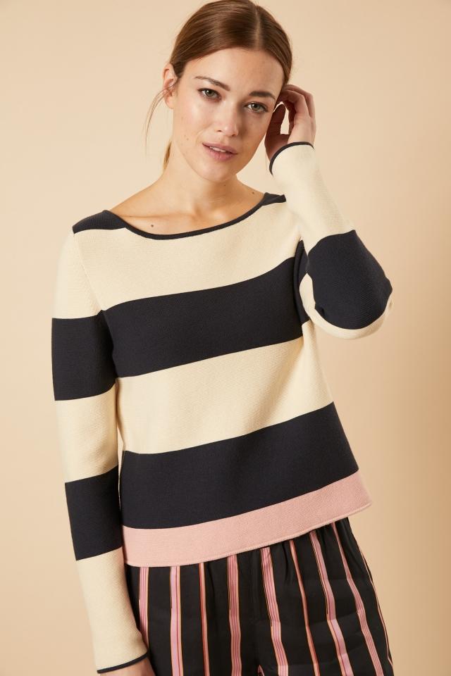 Streifen-Pullover GOTS onyx/pearl