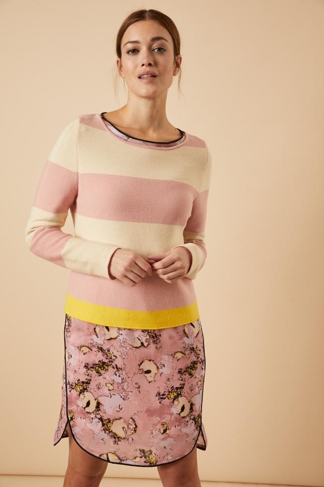 Streifen-Pullover GOTS rose/pearl
