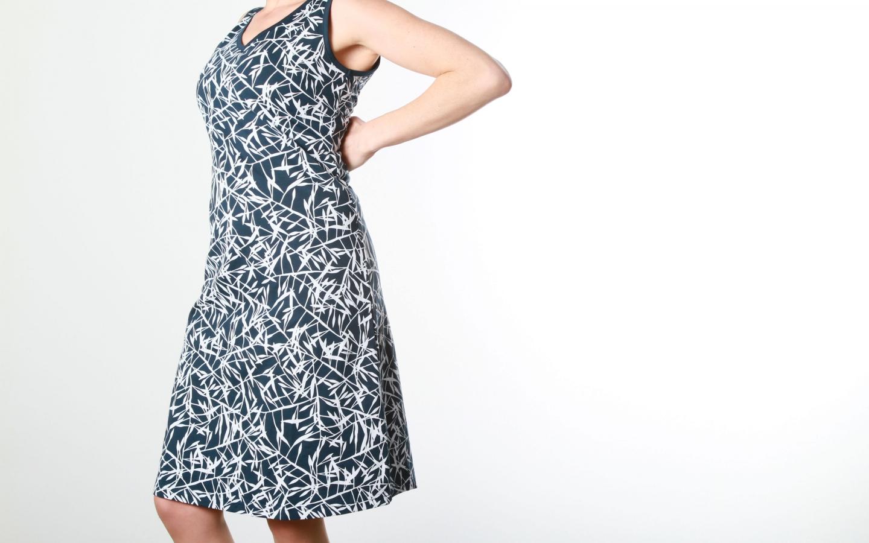 Kleid V-Ausschnitt indigo