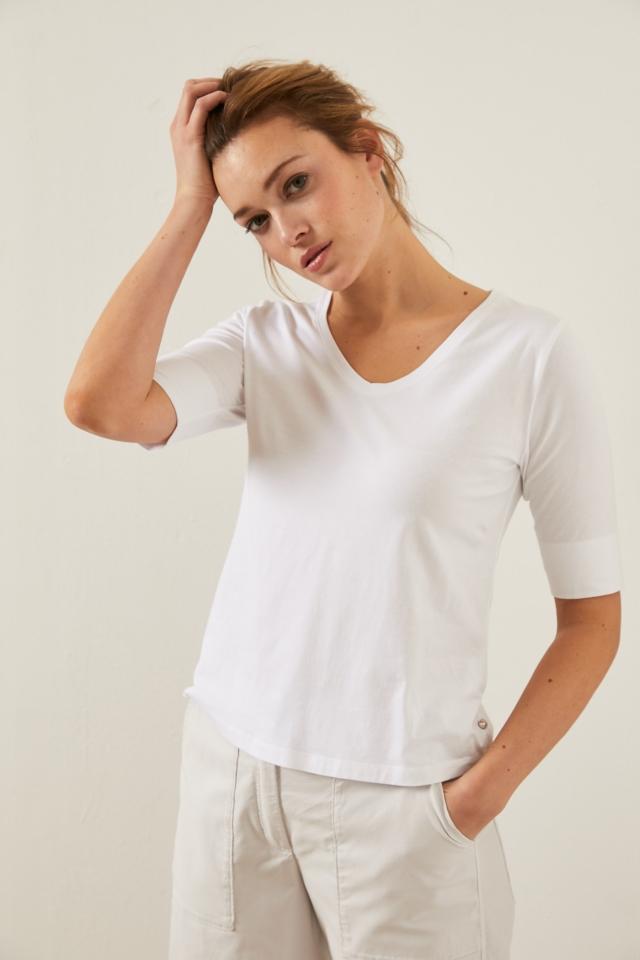 Kurzarmshirt V-Ausschnitt GOTS white
