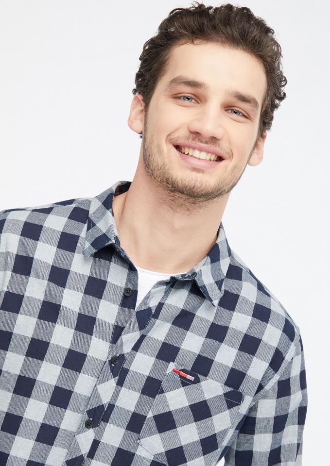 Männer Flanell Shirt/Hemd navy/grey