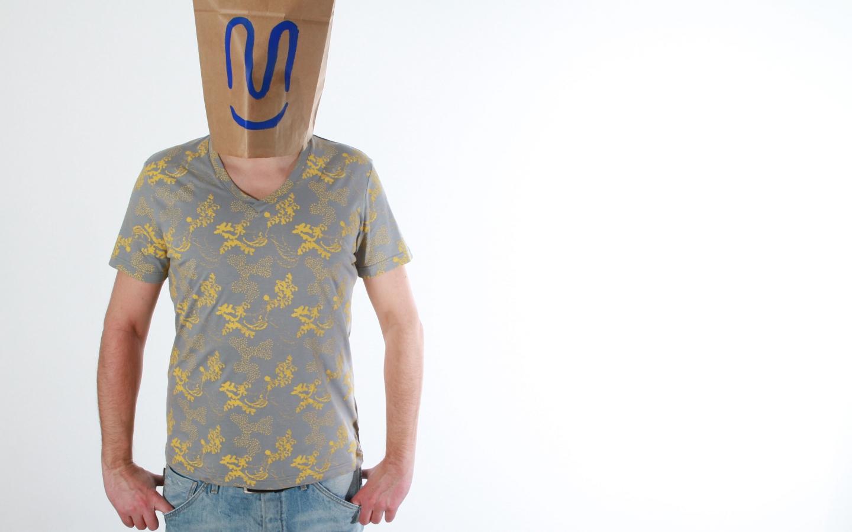 Herren Shirt grau-safran