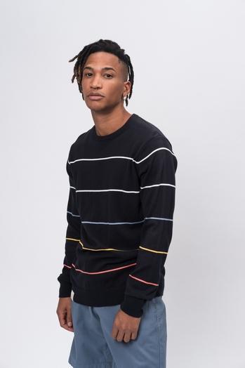 Knit Crew Neck Stripes navy striped