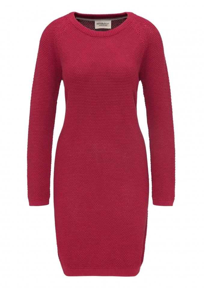 Frauen Raglan Knit Dress Points biking red
