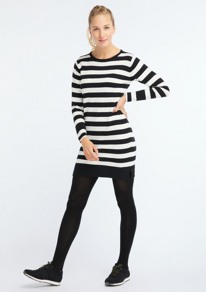 Casual Knit Dress black/white