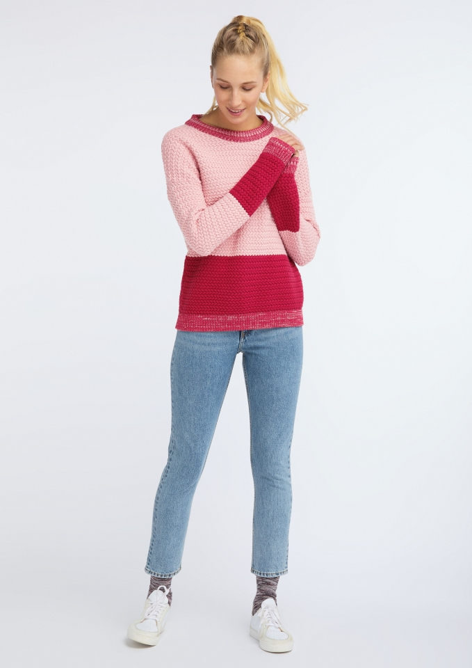 Frauen Knit Crew Neck Oversize rose/biking red