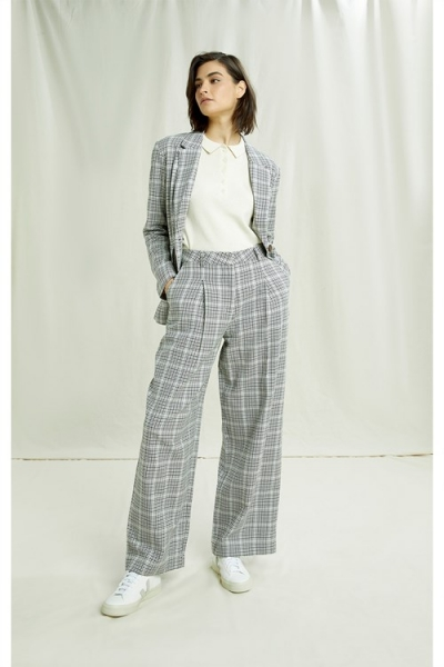 Adalee Checked Trouser Grey Check