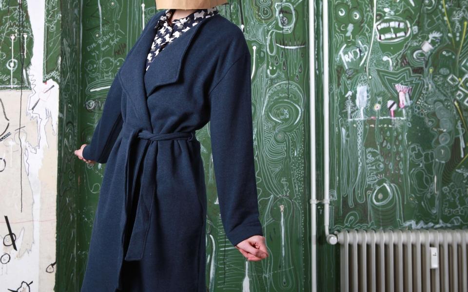Raina Wrap Coat dark blue melange