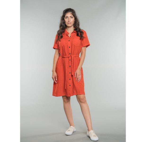 Kaysa Linen Shirt Dress dark orange