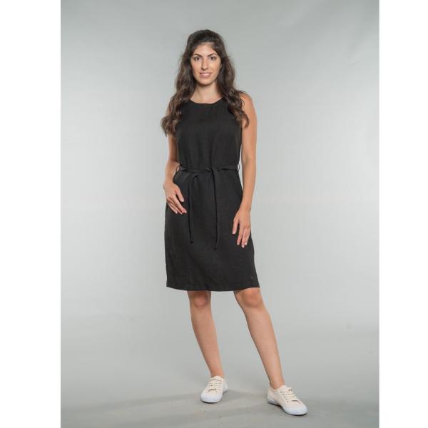 Kim Linen Shirt Dress black-black