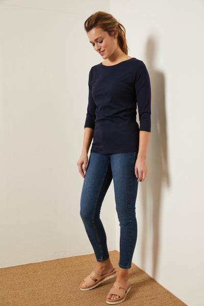High-Waist-Jeans mid blue denim