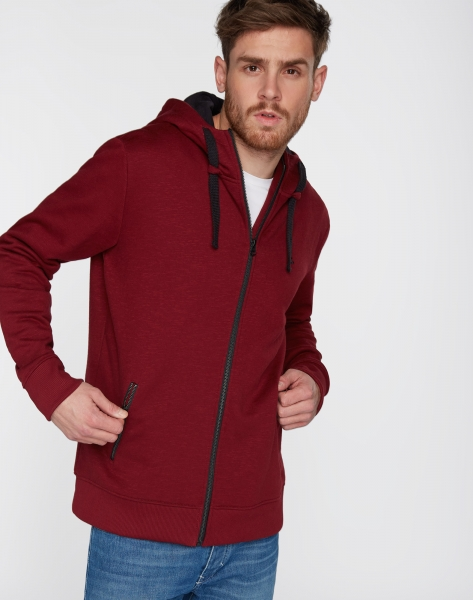 Men Sweatjacke Classic burgundy