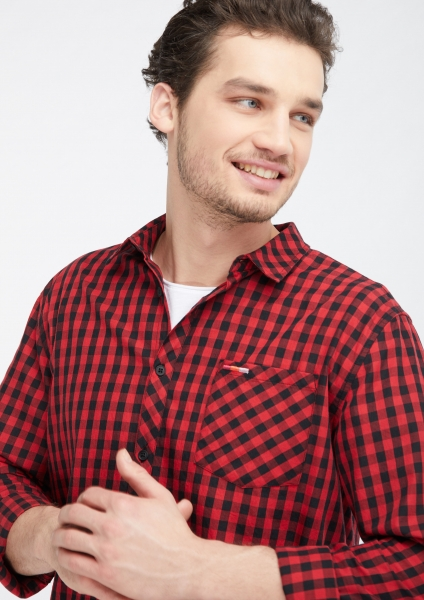 Männer Flanell Shirt/Hemd red/black