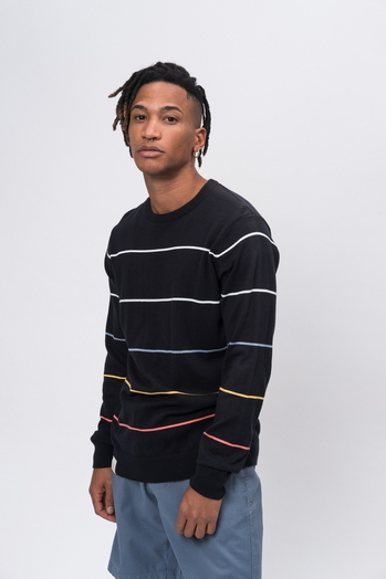 Knit Crew Neck Stripes navy striped