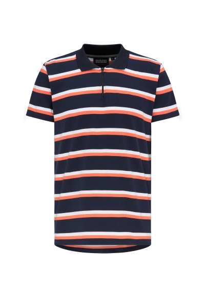 Heavy Polo Shirt Zip navy/coral/white