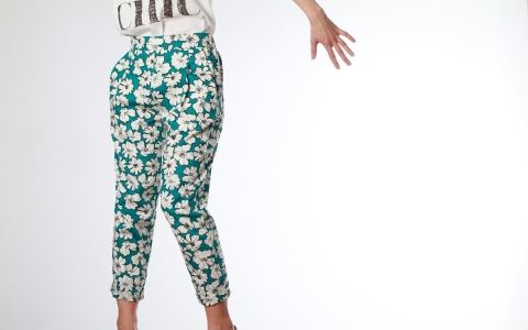 Frances printed trousers green