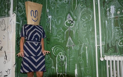 Elle Striped Dress navy