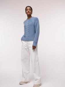 Pullover mit Zopfmuster GOTS fog melange