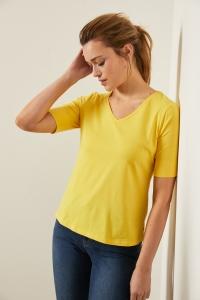 Kurzarmshirt V-Ausschnitt GOTS sun yellow