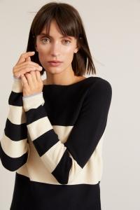 Streifen-Pullover GOTS black/cream