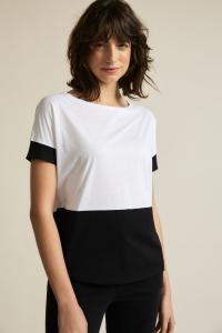 Colourblockshirt GOTS white
