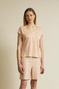 Shirt GOTS mit V-Ausschnitt rose 100 Prozent Leinen