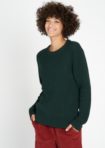 Crew Neck Mouline dark green/black