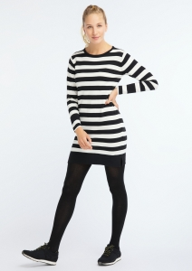 Casual Knit Dress black/white